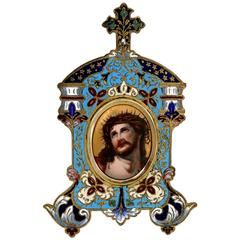 Antique French Champlevé Enamel Frame Christ Porcelain Painting