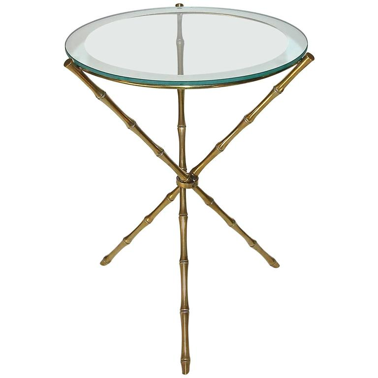 French Maison Baguès Style Faux Bamboo Brass Tripod Side Table For Sale
