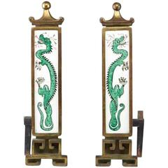 Art Deco Hand-Painted Dragon Andirons