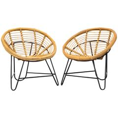 Pair of Bamboo Bucket Lounge Chairs