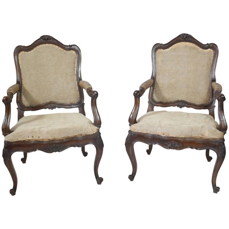 Pair of Louis XV Walnut Fauteuils