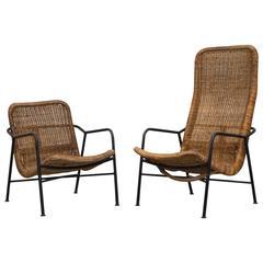 "Dirk Van Sliedrecht Style Woven ""His"" and ""Hers"" Rattan Lounge Chair"