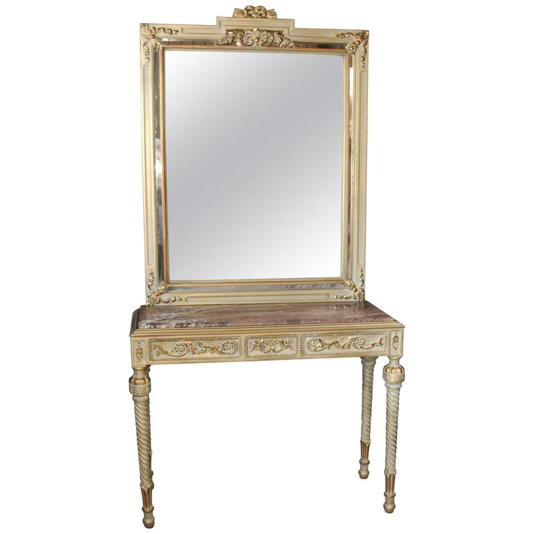 empire style painted console table and mirror set