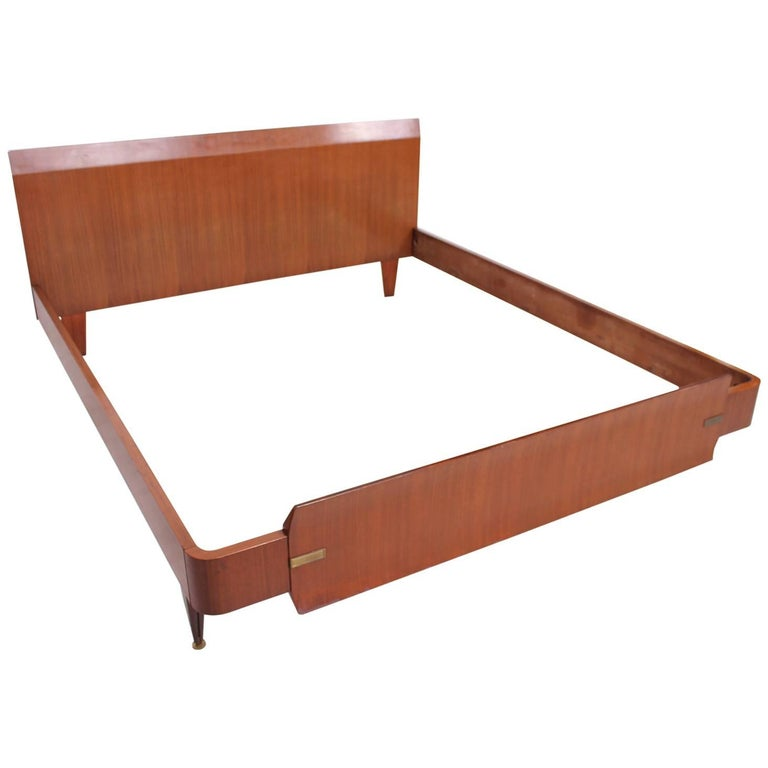 Mid Century Modern Italian Modern Bed Frame, Dassi Attributed For Sale