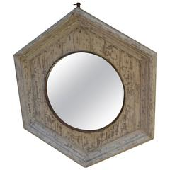 19th Century Pentagonal Signal Mirror in Weathered Antique Frame