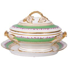 19th Century French Old Paris Lidded Oval Tureen with Underplate