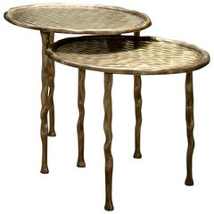 Set of Two French Modern Cast Brass Side Tables