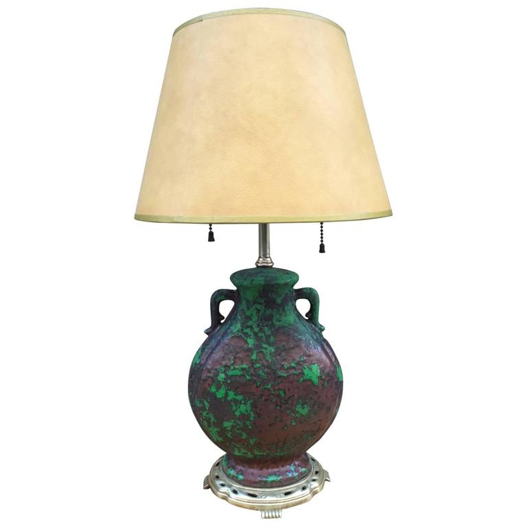 French Ceramic and Bronze Table Lamp