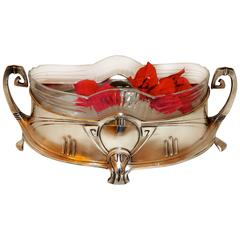 Art Nouveau Silver and Glass Centerpiece by WMF