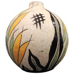 Boch Ceramic Vase in Art Deco Pattern