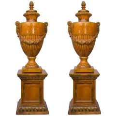 Pair of Italian Glazed Terra Cotta Lidded Urns, Late 20th Century