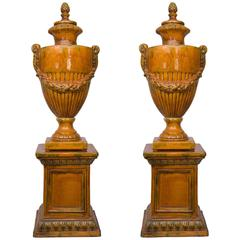 Pair of Italian Glazed Terra Cotta Lidded Urns, Late 20th Century