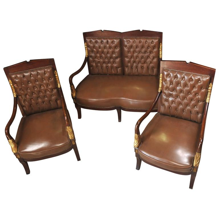 French Empire Style Sofa Armchair Suite Leather At 1stdibs