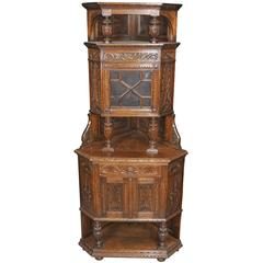 English Antique Carved Oak Jacobean Corner Cabinet, 1890s