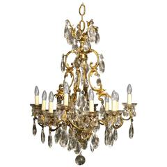French Bronze and Crystal Twelve-Light Chandelier