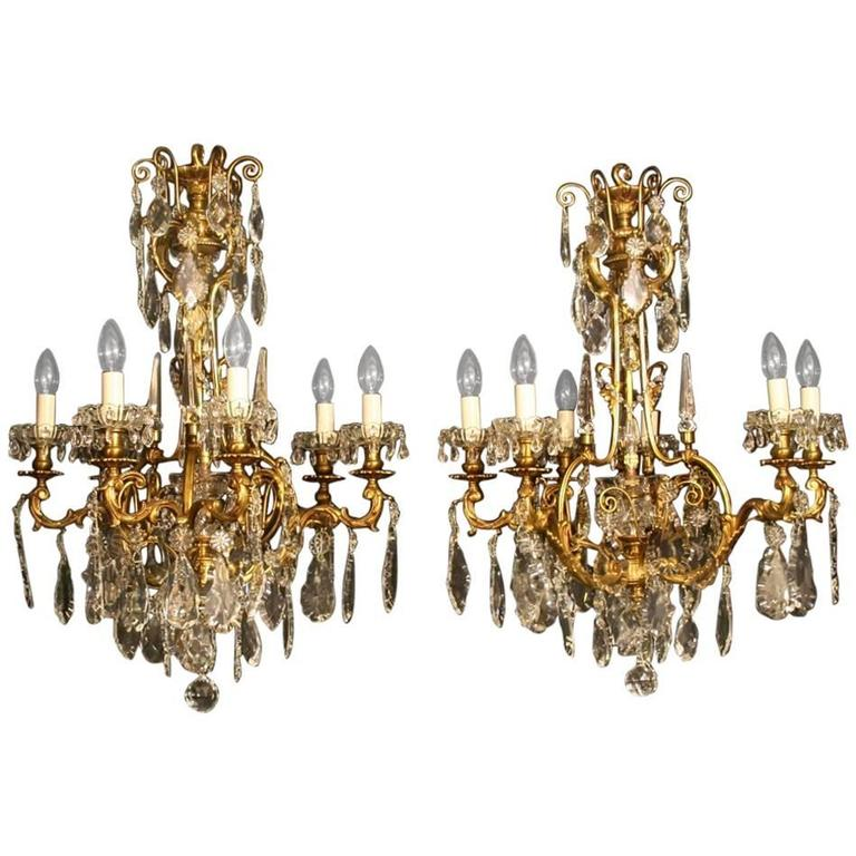 French Pair Of Bronze Antique Chandeliers For Sale At 1stdibs