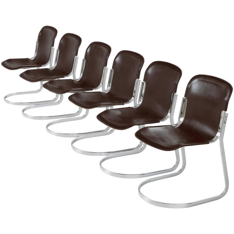 Set of six modern dining chairs in dark brown leather for for Modern brown leather dining chairs