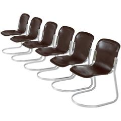 Set of Six Modern Dining Chairs in Dark Brown Leather for Cidue