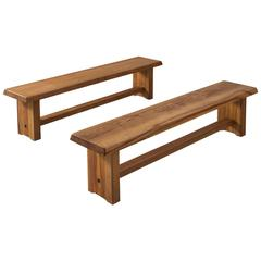 Large (173cm) Pierre Chapo Benches in Solid Elm