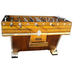 Mid-Century French Light Wood and Aluminum Foosball Table