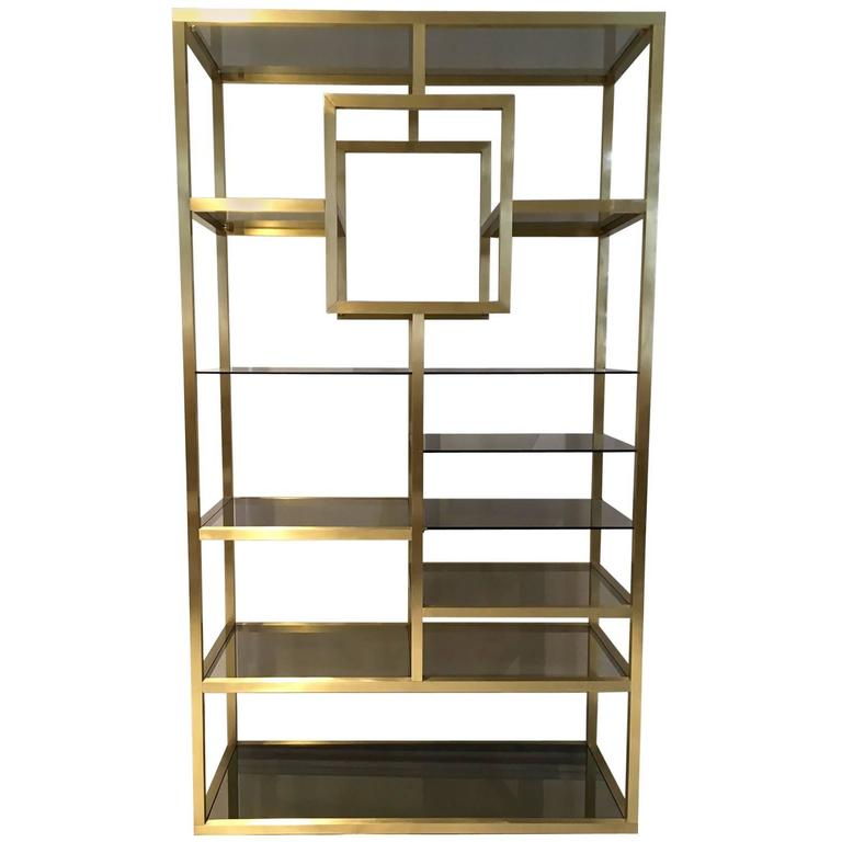 mid century modern polished brass shelving attributed to. Black Bedroom Furniture Sets. Home Design Ideas