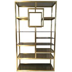 Mid-Century Modern Polished Brass Shelving Attributed to Romeo Rega