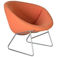 1950's, Rudolf Wolf, for Rohe Noordwolde, Lounge Chair in Orange Fabric