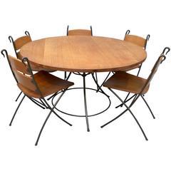 Oak and Ironwork Dining Set