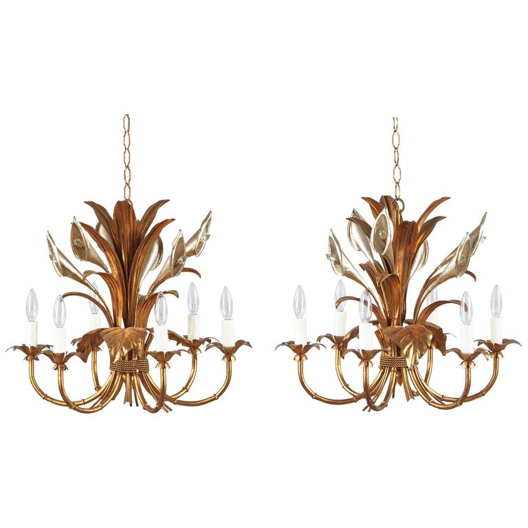 Pair of French Gilded Metal Chandeliers, 1950s For Sale