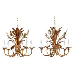 Pair of French Gilded Metal Chandeliers, 1950s