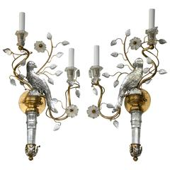 Pair of Glass and Gilt Metal Bird Sconces