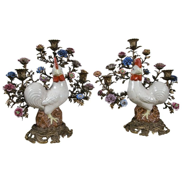 Pair of Rooster Three-Light Candelabra