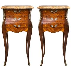 Pair of Marble-Topped Three-Drawer Bedside Tables