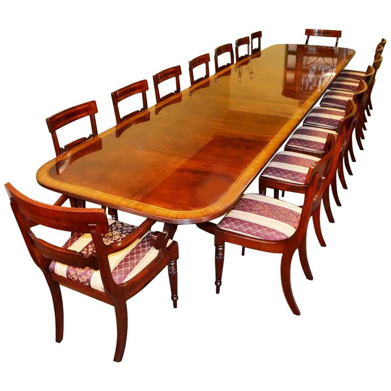 Regency dining table and 16 chairs flame mahogany at 1stdibs for Regency furniture living room sets