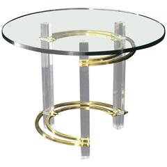 Brass Glass Lucite Mid-Century Round Center Side Table
