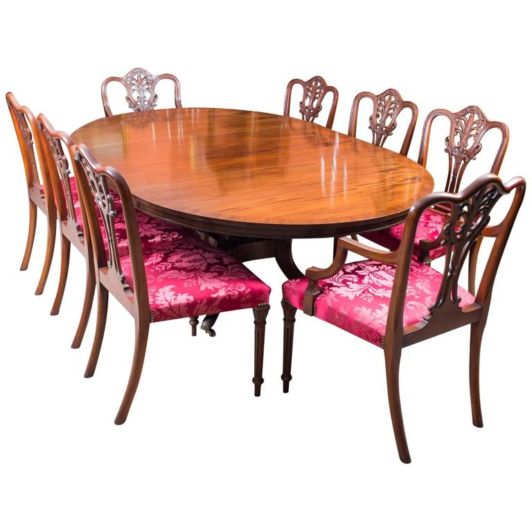 Vintage Dining Table and Eight Chairs by Arthur Brett & Sons For Sale