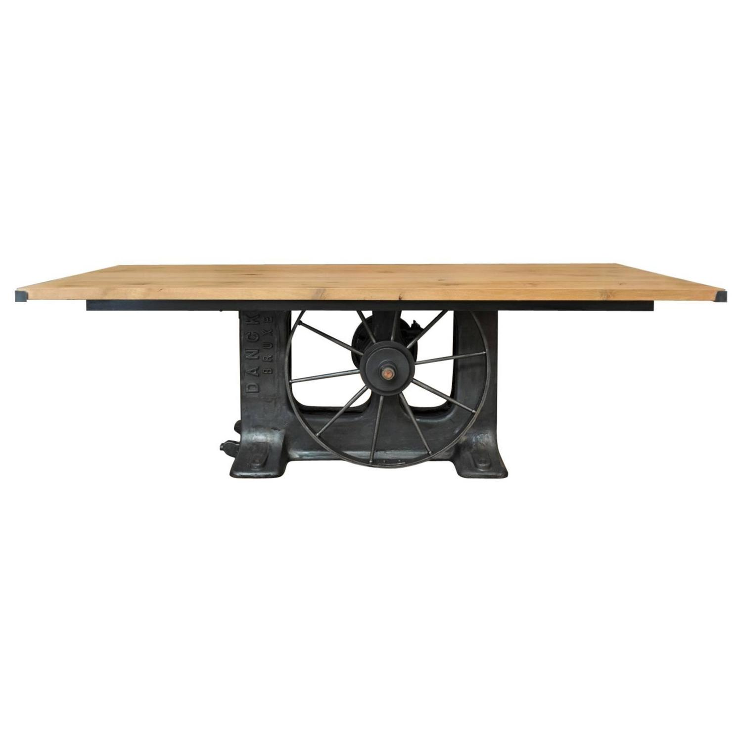 Industrial Factory Cast Iron and Oak Big Wheel Dining Table at 1stdibs
