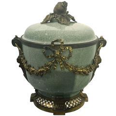 Gilt Bronze-Mounted Celadon Porcelain Covered Bowl, French, circa 1890