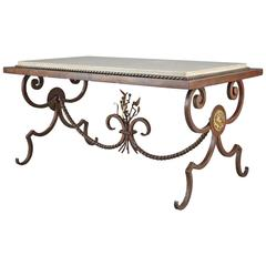 Wrought Iron and Marble Coffee Table in the Style of Gilbert Poillerat
