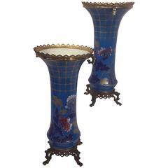 Pair of Japonisme Bronze-Mounted Porcelain Vases, French, 19th Century