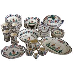 Set of 19th Century French Hand-Painted Decorative Dishes from Quimper, Brittany