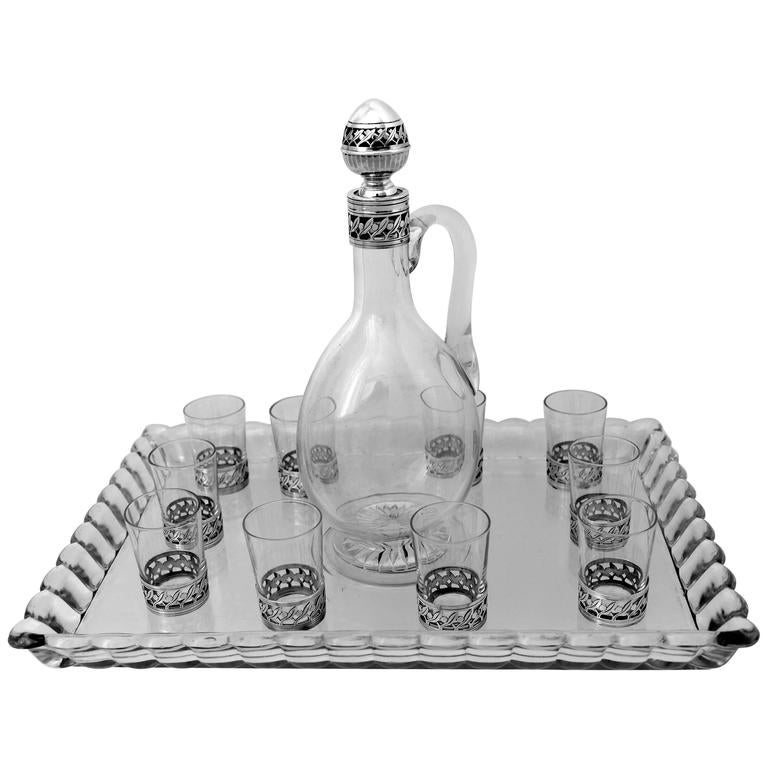 Christofle Rare French Sterling Silver Baccarat Crystal Liquor Service with tray