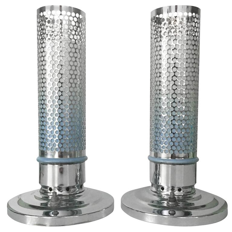 "1920""S Art Deco Chrome and Glass Bullet Table Lamp, Pair"