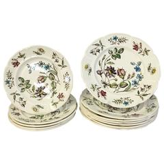 """1950s S/13 English Windsor Ware """"Wakefield"""" Plates by Johnson Brothers"""
