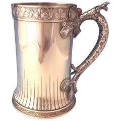 Mixed Metals by Gorham Sterling Tankard Pitcher with Applied Copper Berry