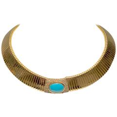 1970s Ciner Gold and Turquoise Omega Choker
