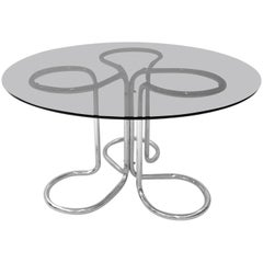 Space Age Vintage Dining Table by Giotto Stoppino, Italy, circa 1970 Metal Glass