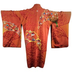 Vintage Japanese Haori Kimono Jacket, Reversable Rust & Red