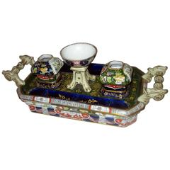 19th Century English Mason's Ironstone Inkstand