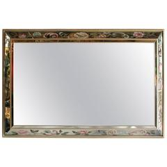 Hollywood Regency Wall Mirror with Glass Display Shelves